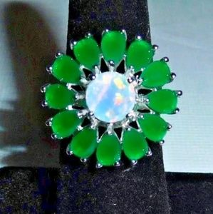 30 Ct.t.w. Emerald & Opal Flower 925 Silver Ring